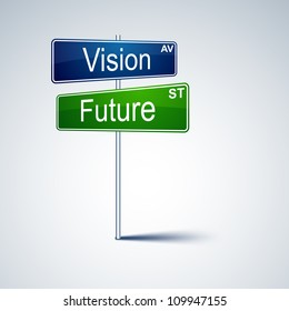 Vector direction road sign with vision future words.