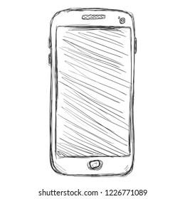 Vector Dirty Sketch Illustration - Smartphone