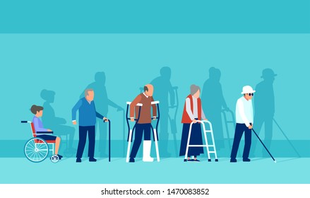 Vector of disabled handicapped senior people in wheelchair, with plaster and crunches, walker and blind man with cane.