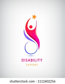 Vector disabled people support, sport, help logo, icon. Man sitiing on the wheelchair, holding star