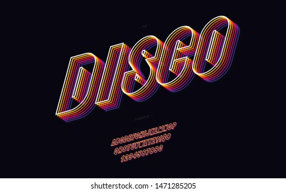 Vector disco 3d font 80s style modern typography. Cool vintage typeface for  party poster, t shirt, decoration, logotype, book, card, sale banner, printing on fabric. Trendy alphabet. 10 eps