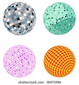 Vector disco ball set; clip-art
