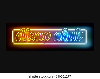 Vector disco club sign - neon lamps made in letter shapes, retro style advertising in yellow, orange and blue colors isolated on black - transparent lights and lamps.