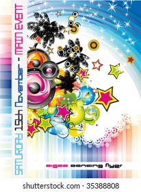 VECTOR Disco Dance Tropical Music Flyer with colorful background