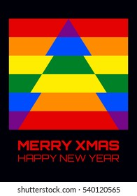 """Vector disco style illustration of a Christmas tree in rainbow colors. Text """"Merry Xmas, Happy New Year"""", vertical format."""
