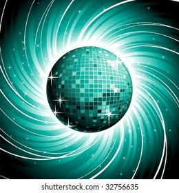 Vector disco-ball on shiny blue grunge background.
