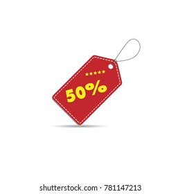 Vector of discount 50 percent off Label. Sale 50% Off Red Label.