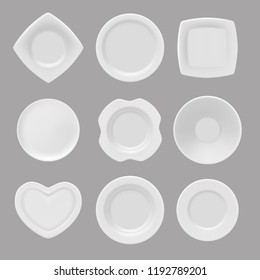 Vector dishware. Realistic pictures of various plates. Illustration of collection plate, dishware empty