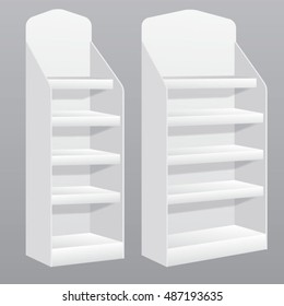Vector display stands templates with curvy crowner for markets and trade booths