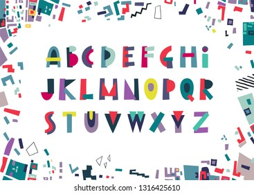 Vector display trendy alphabet made of colorful geometric shapes.