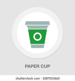 vector disposable paper cup, coffee drink icon - plastic takeaway hot cafe