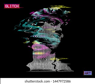 Vector distorted CMYK color wavy line halftone illustration of Michelangelo's David sculpture from 3d rendering and in vaporwave style design.