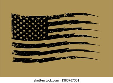 Vector Distressed American Flag with Stripes in Lightning Shape