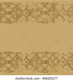 Vector distressed antique mexican pattern on marble slab. Scratched ethnic mexican ornament. Ancient style design. Simple mexican pattern line element