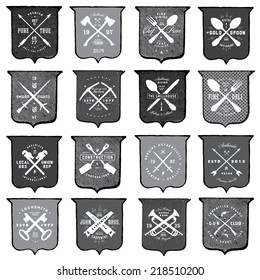 Vector distressed shield template set. Easy to edit, all pieces are separated.