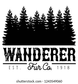 Vector Distressed Wanderer Fur Company Outdoor Adventure Tree Forest Logo in Black and White. Great for t-shirts, hats, apparel, logos, gifts, home decor, textiles, stationery, and paper crafting.