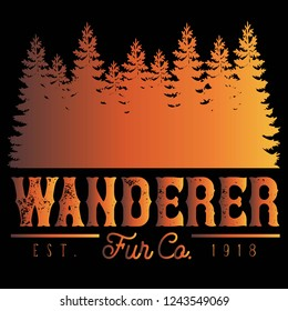 Vector Distressed Wanderer Fur Company Outdoor Adventure Tree Forest Logo in Fire Orange & Black. Great for t-shirts, hats, apparel, logos, gifts, home decor, textiles, stationery, and paper crafting.