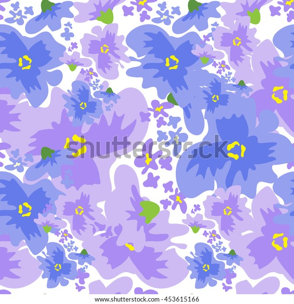 Vector ditsy pattern with flowers in watercolor style