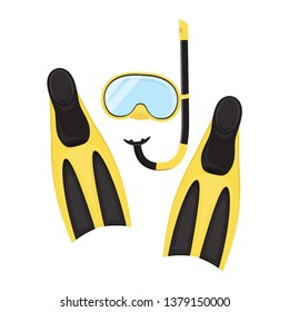 vector diver equipment set, yellow black snorkeling mask with snorkel and flippers isolated on white background, clipart with sport gear for snorkeling