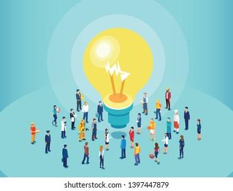 Vector of diverse people brainstorming big idea. Casual men and women standing around light bulb.