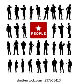 Vector of Diverse People Using Devices Silhouttes
