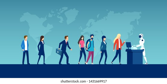 Vector of diverse people waiting in long queue with robot standing at counter on world map background