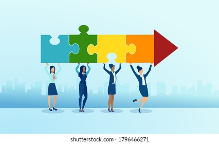 Vector of diverse young women holding puzzle pieces shaped as an arrow