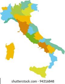 Vector divided by Italian region