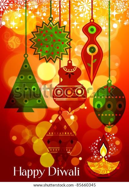 Vector Diwali Lamp with lighting