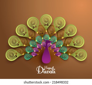 Vector Diwali Peacock