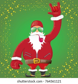 vector DJ rock n roll santa claus with smoking pipe, santa beard and funky santa hat on green background. Christmas hipster poster for party or greeting card. vector bad santa xmas poster background