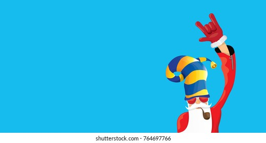 vector DJ rock n roll santa claus with smoking pipe, santa beard and funky santa hat isolated on blue horizontal background. Horizontal Christmas hipster party poster, banner or greeting card.