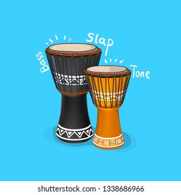 Vector Djembe Illustration,Vecor African Drum with Bass Tone and Slap