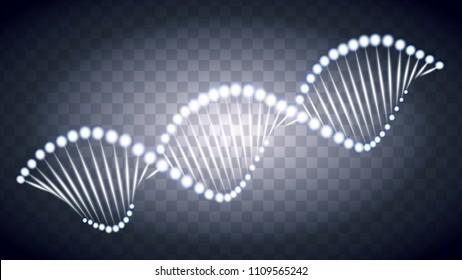 Vector DNA light trace effect. Glowing spiral wave line on black transparent background.