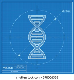 vector DNA molecule blueprint icon