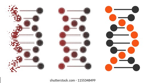 Vector dna molecule icon in fractured, pixelated halftone and undamaged entire variants. Disintegration effect involves rectangle particles and horizontal gradient from red to black.