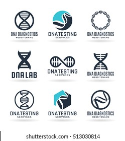 Vector DNA signs, biotech icons, modern medicine and science technologies - logo design elements, labels, badges, logotype templates (1)
