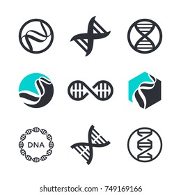 Vector DNA signs, biotech icons, modern medicine and science technologies - logo design elements