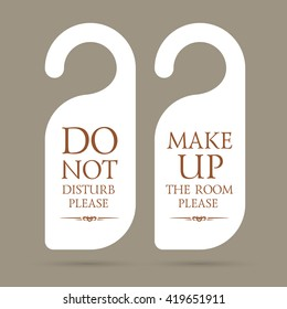 vector do not disturb and make up the room please hotel hanger signs