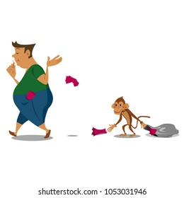 Vector of Do Not Litter, shameless on Monkey