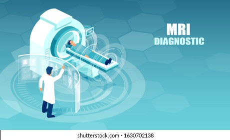 Vector of a doctor conducting magnetic resonance imaging studies on a patient at a hospital.
