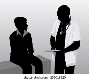 Vector of a doctor examining patient