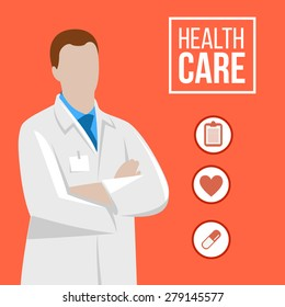 Vector doctor illustration with medical icon.