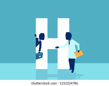 Vector of a doctor inviting businessman corporate manager in his hospital office. Healthcare and business concept