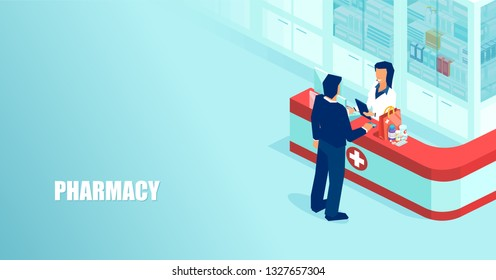 Vector of a doctor pharmacist selling prescription drugs to a patient in drugstore