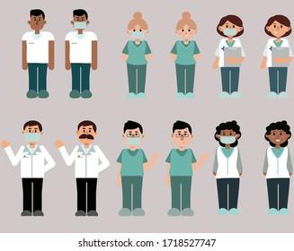 vector doctors nurses set illustration avavtar