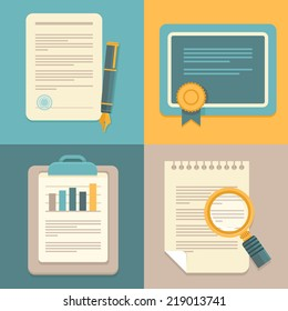 Vector document icons and concepts in flat style - business plan, report, contract and certificate