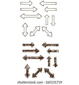 Vector doddle sketch arrow