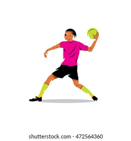 Vector Dodgeball Cartoon Illustration. Man preparing to throw the ball into the goal. Unusual Logo template isolated on a white background