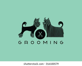 Vector dog beauty grooming salon. Illustration with Yorkshire Terriers. Vector pet grooming logo. Dog groomer logo. Dog beauty salon logo.